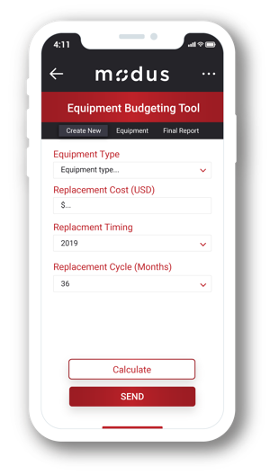 Modus - Equipment Budgeting Tool App