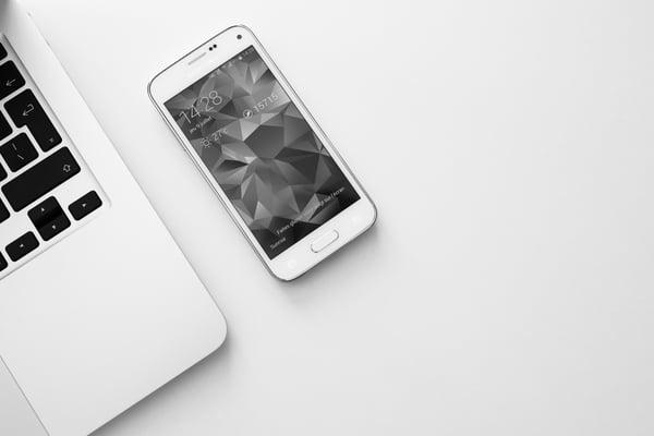 black-and-white-cellular-telephone-laptop