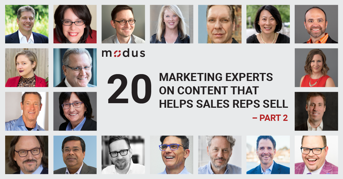 20 Marketing Experts on Content that Helps Sales Reps Sell - Part 2