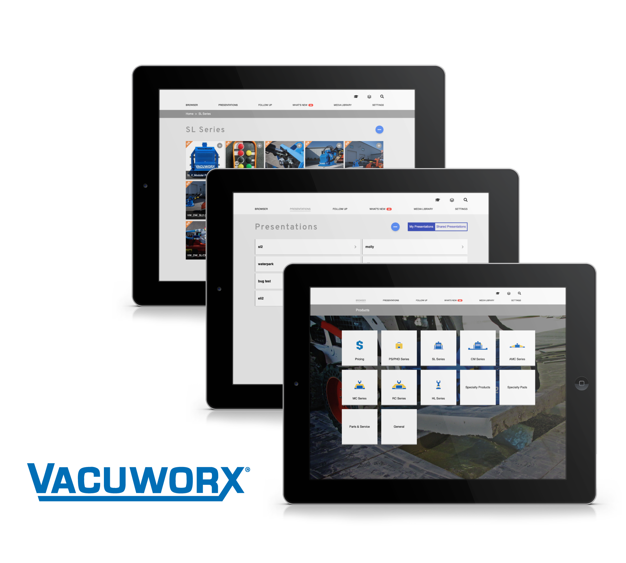 Vacuworx Modus App Mockups
